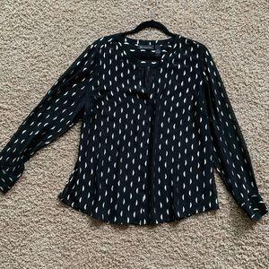 INC sheer blouse w/metallic detail.